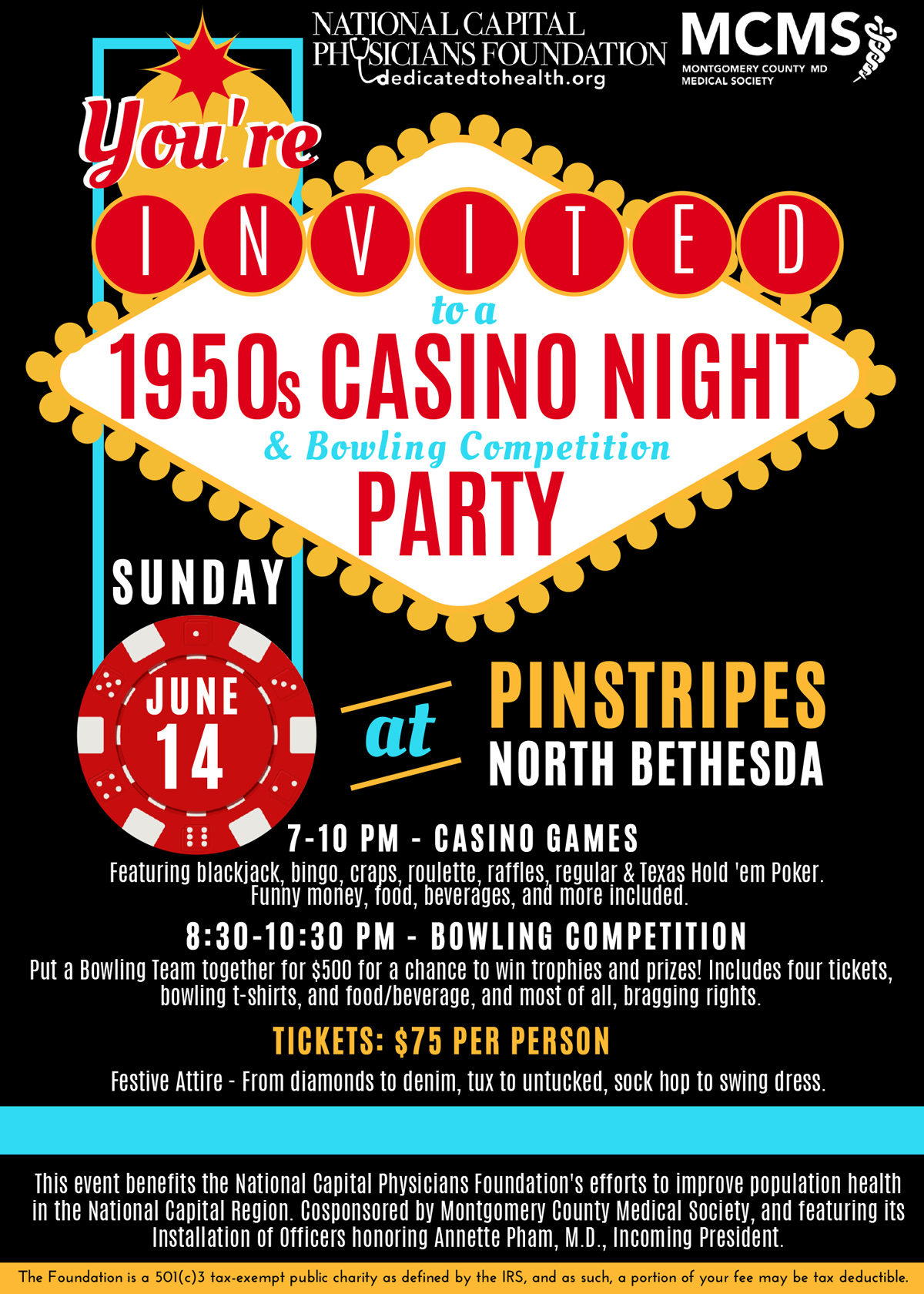 Casino Event Black Invitation